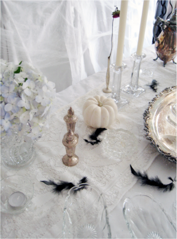 White Halloween table