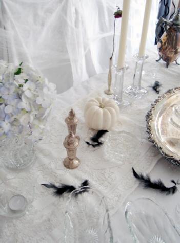 White Halloween table